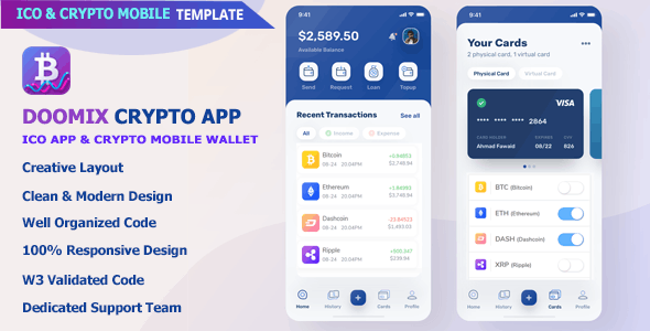 Doomix - ICO App & Crypto Wallet Mobile Template - Mobile Site Templates