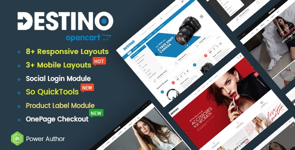 Destino - Multipurpose eCommerce OpenCart 2.3 and 3 Theme With Mobile-Specific Layouts - OpenCart eCommerce