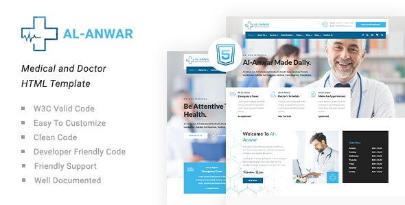 Al-Anwar | Medical and Doctor HTML Template - Health & Beauty Retail