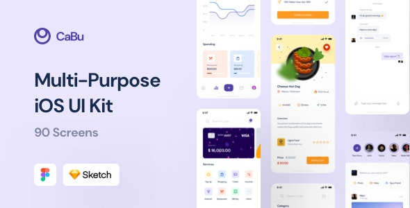 CaBu Multi-Purpose iOS UI Kit - Sketch UI Templates