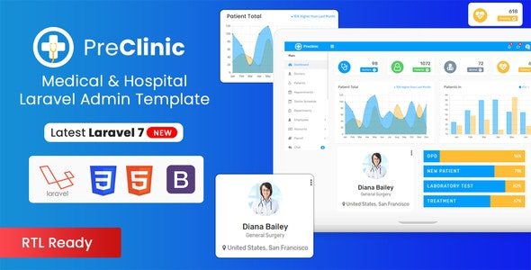 Preclinic - Hospital, Medical, Clinic Management Bootstrap Admin Dashboard Template (HTML + Laravel) - Admin Templates Site Templates