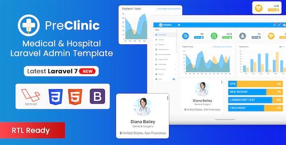 Preclinic - Hospital, Medical, Clinic Bootstrap4 Admin Template (HTML + Laravel + Reactjs + Vuejs)
