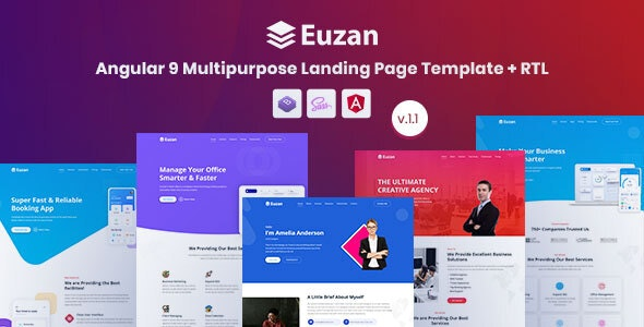 Euzan - Angular 9 Multipurpose Landing Page Template - Business Corporate