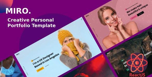 ReactJS Creative Personal Portfolio Template - Miro