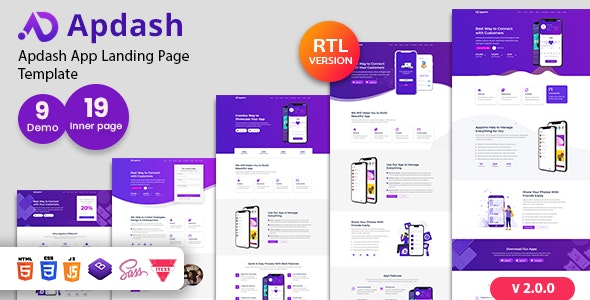 Apdash - App Landing Page Template - Technology Site Templates