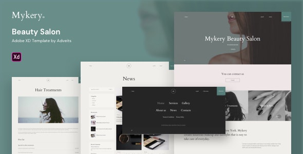 Mykery - Beauty Salon Adobe XD Template - Health & Beauty Retail