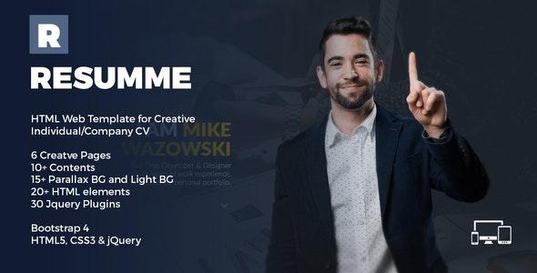 Resumme - HTML Theme for Creative CV - Personal Site Templates