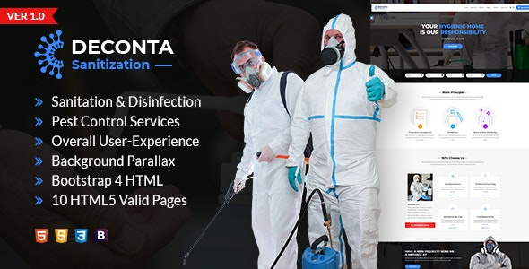 Deconta - Sanitation, Disinfection and Pest Control HTML Template - Business Corporate