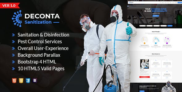 Deconta - Sanitation, Disinfection and Pest Control HTML Template