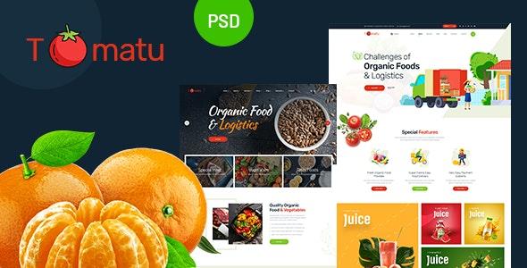 Tomatu - Organic Foods & Logistics PSD Template - Food Retail