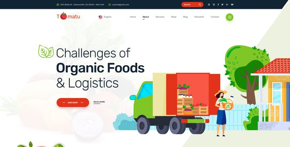Tomatu - Organic Foods & Logistics PSD Template