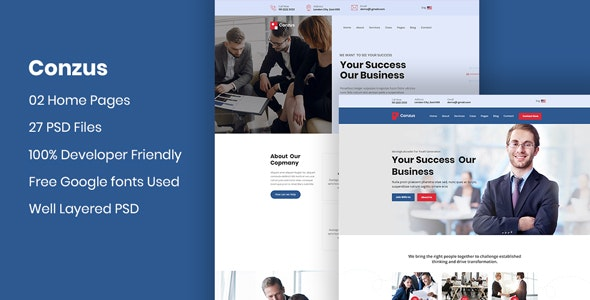 Conzus - Business Consultancy PSD Template - Corporate Photoshop