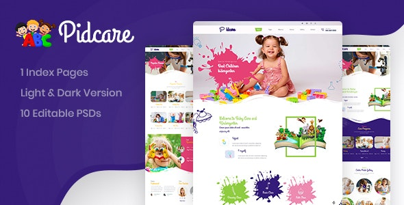 Pidcare Kindergarten PSD Template - Children Retail
