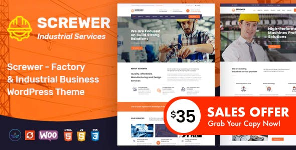 Screwer - Factory and Industrial WordPress Theme