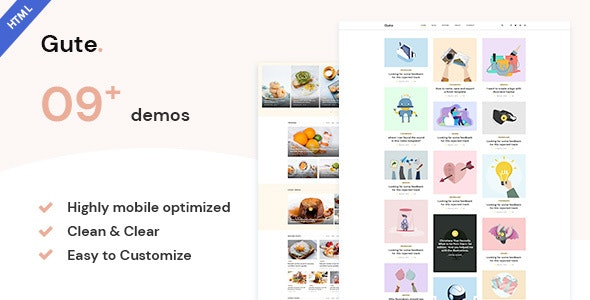 Gute | Minimalist Blog HTML5 Template - Personal Site Templates