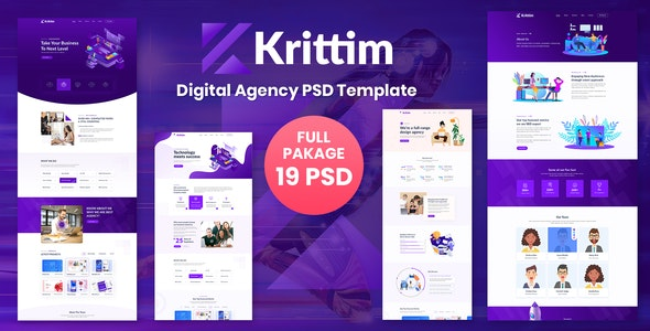 Krittim Digital Agency Psd Template - Corporate Photoshop