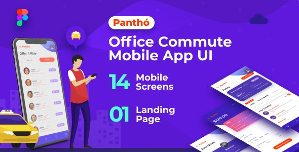 Panthó | A Office Commute Mobile App UI & Landing Page Figma Template - Business Corporate