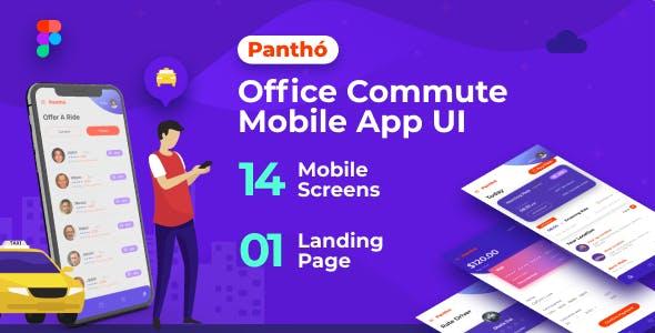 Panthó   A Office Commute Mobile App UI & Landing Page Figma Template
