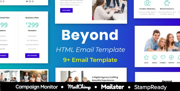 Beyond - Multipurpose Responsive Email Template 9+ layouts Mailchimp - Newsletters Email Templates