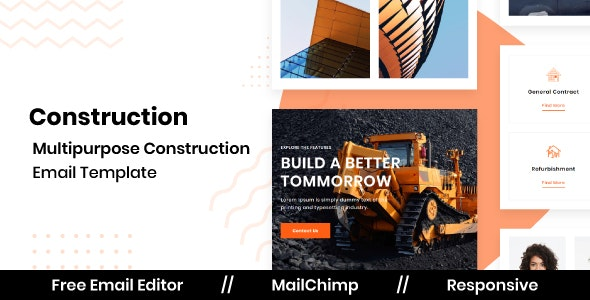 CONSTRUCT - Responsive Email Template for Construction With Free Email Editor - Newsletters Email Templates