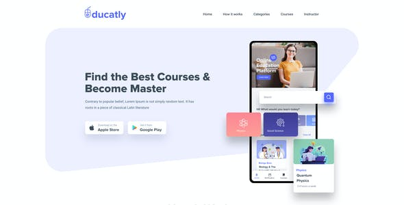 Educatly | Online Education And Learning Mobile App Figma Template