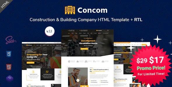 Concom - Construction & Building Company HTML Template - Business Corporate