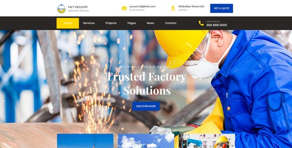 Fact Industry - Industrial & Factory Service PSD Template