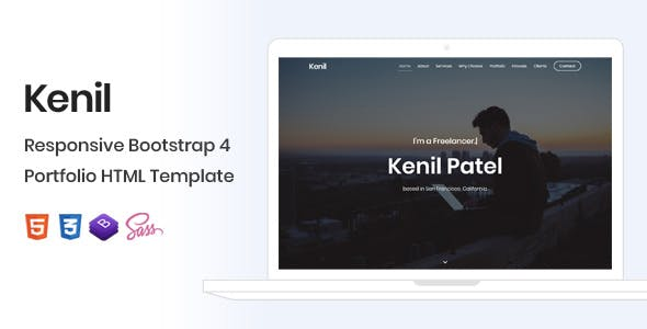 Download Kenil - Responsive Bootstrap 4 One Page Portfolio Template