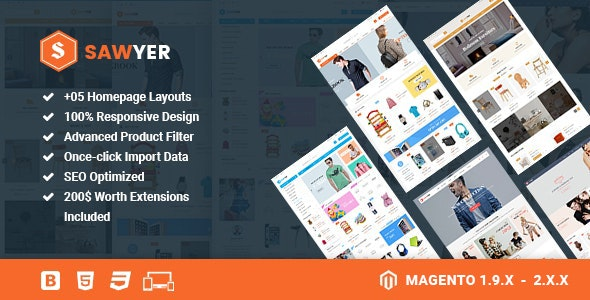 Sawyer - Multipurpose Responsive Magento 2 and 1.9 Theme - Shopping Magento