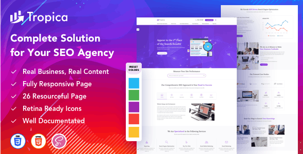 Tropica – Startup Agency SEO Agency Template - Technology Site Templates