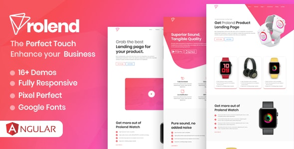 Prolend - Angular 9 Product Landing Page - Software Technology