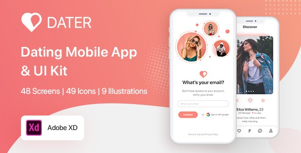 Dater - Adobe XD Dating UI Kit For Mobile App - Adobe XD UI Templates
