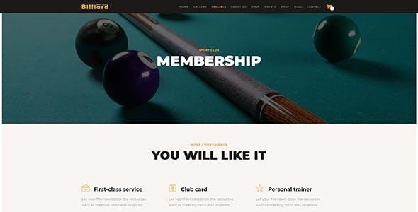 Billiard - Creative Sporting  WordPress Theme