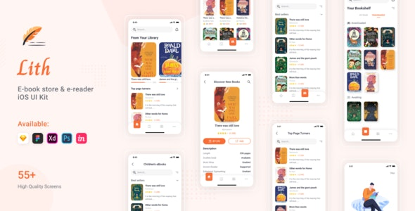 Lith - E-book store & E-reader App UI Kit - UI Templates