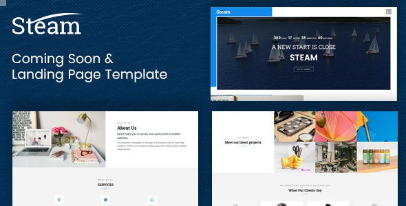Steam - Coming Soon and Landing Page Template - Under Construction Specialty Pages