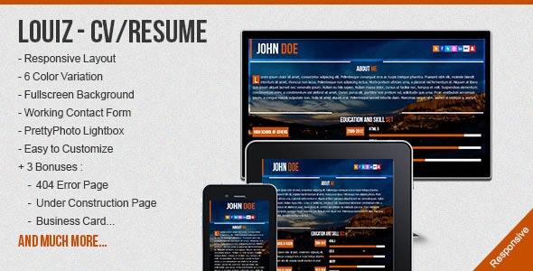 Louiz - CV/Resume Responsive Template + 3 Bonuses - Resume / CV Specialty Pages