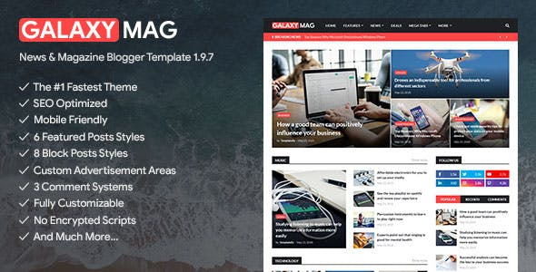 Download GalaxyMag - Responsive News & Magazine Blogger Template