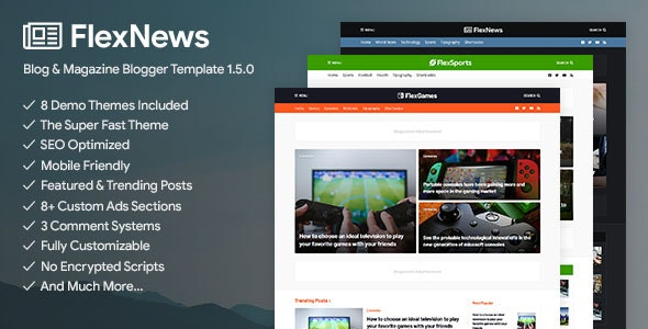 FlexNews - Responsive Blog & Magazine Blogger Template - Blogger Blogging
