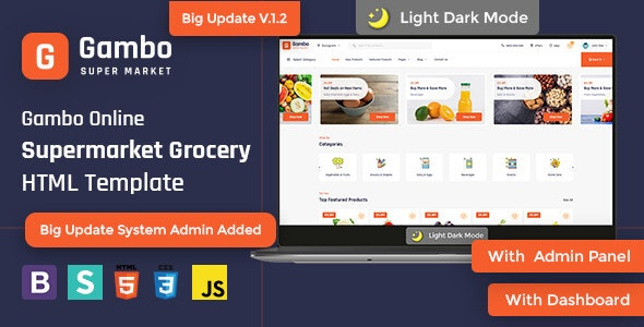 Gambo - Online Grocery Supermarket HTML Template - Retail Site Templates