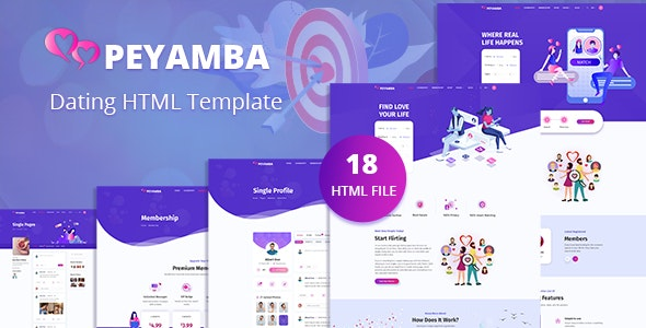 Peyamba - Dating Website HTML Template - Entertainment Site Templates