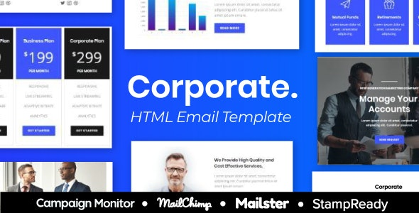 Corporate - Multipurpose Responsive Email Template 9+ layouts Mailchimp - Newsletters Email Templates