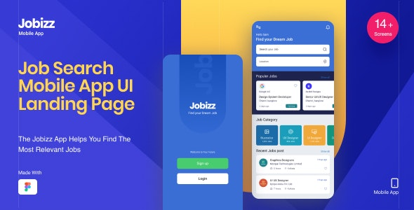 Jobizz Mobile App and Landing Page | An Online Job Search Figma Template - Business Corporate