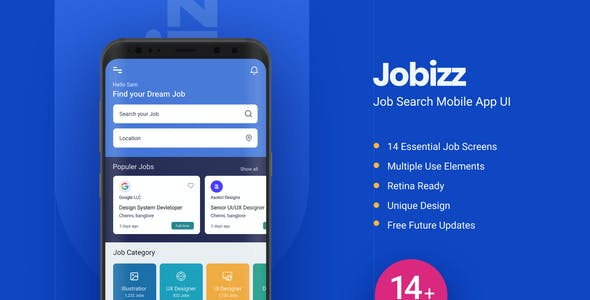 Jobizz Mobile App and Landing Page | An Online Job Search Figma Template