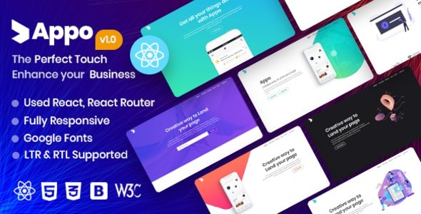appo | React App Landing Page - Technology Site Templates