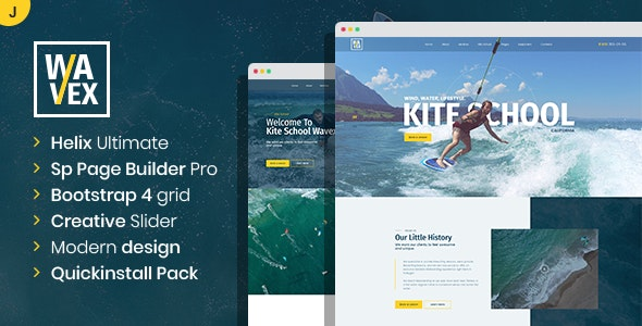 Wavex - Sailing and Surfing Single Page and Multi Page Joomla Template - Corporate Joomla