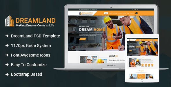 Download Dreamland - Construction PSD Template