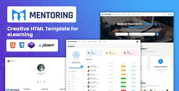 Download Mentoring - eLearning, Learning management system & Mentor Booking HTML Template