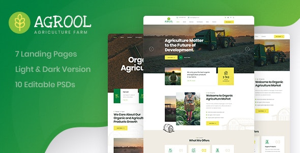 Agrool - Agriculture Farming PSD Template - Environmental Nonprofit