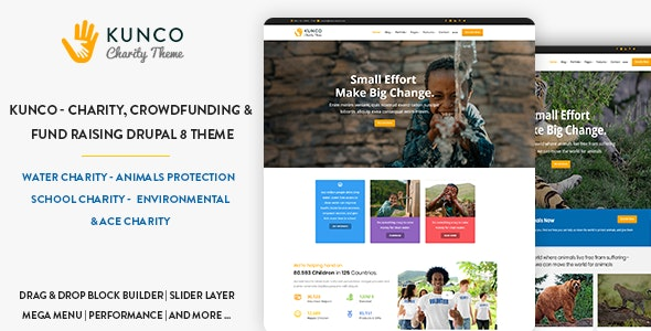 Kunco - Charity, Crowdfunding & Fund Raising Drupal 9 Theme - Nonprofit Drupal