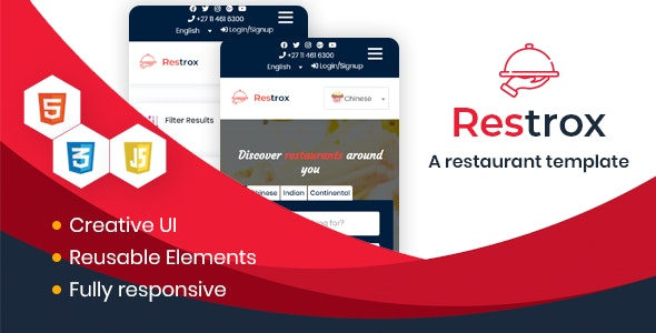 RestroX - Listing & Directory HTML Template - Business Corporate